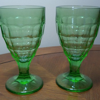 Pair of Uranium Glass Goblets