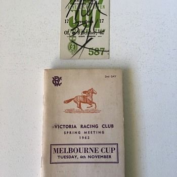 Ticket found inside 1962 Melbourne Cup programme
