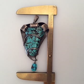 Arts and Crafts Turquoise LARGE Pendant