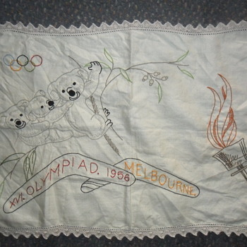 1956 Melbourne Olympic Games Tea Towel Doily