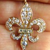 Antique Georgian OMC Diamond 18k Fleur De Lis Lavaliere Necklace