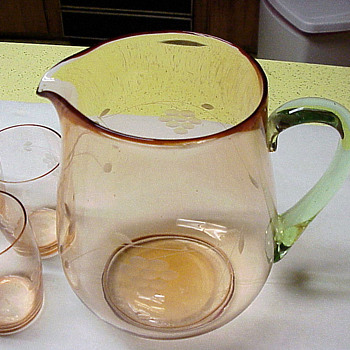 Grandmother's pitcher & glass set at least 80 years old. - Glassware