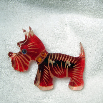 Lucite Scotty Dog Pin - Costume Jewelry