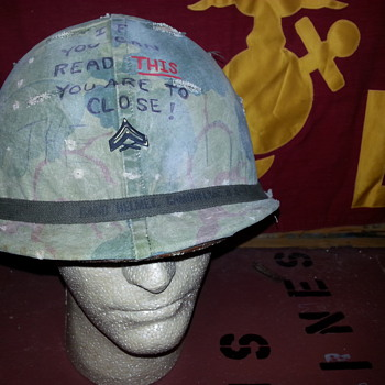 Vietnam U.S.Marines 3rd Marine Division combat helmet @1968 - Military and Wartime