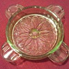 Jeanette Sunflower Uranium Glass Ashtray....