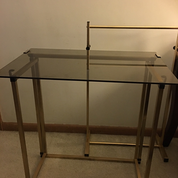 MCM Smoked Glass & Brass TV Trays w/Stand  - Furniture