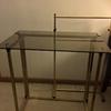 MCM Smoked Glass & Brass TV Trays w/Stand