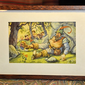 Framed Belgian Postcard - Children's Story Illustration