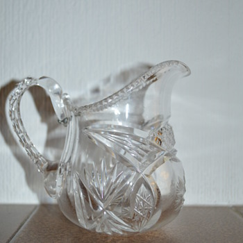 Victorian cut glass creamer (?)  with an antique repair