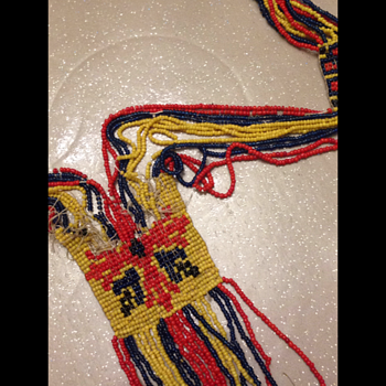 A very old fragile beadwork necklace which needs restoring - Native American