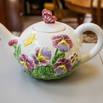 Floral Tea Pot with Butterfly Lid - Art Pottery