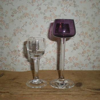 Bohemian Art Nouveau liqueur glasses.