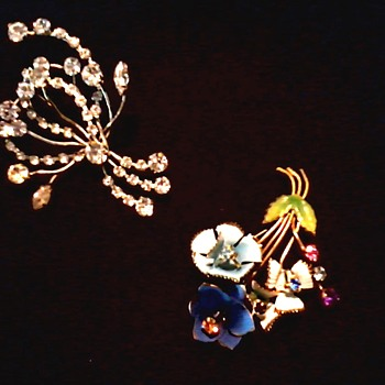 Austrian Rhinestone and Enamel Brooches / Circa 20th Century