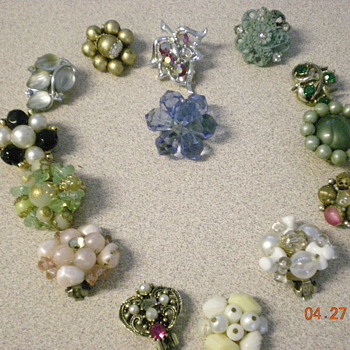 all my single clip on vintage earings and more
