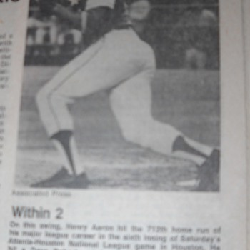 Hank Aaron chasing Ruth newspaper article - Baseball