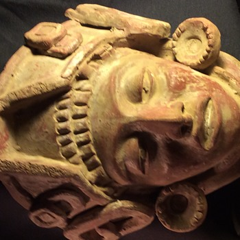 ANTIQUE STONE  CLAY CRAVED DEATH MASK - Visual Art