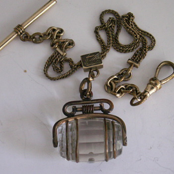Glass & Brass Wine Barrel Watch Fob