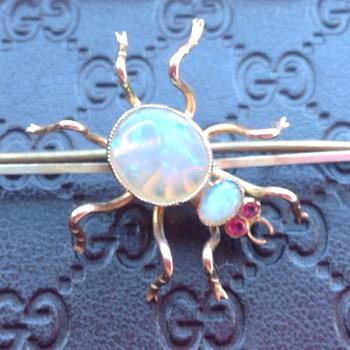 Gold Spider Brooch