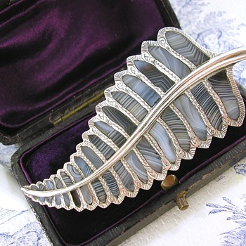 Antique Victorian Scottish Agate Large Silver Fern Leaf Brooch  - Fine Jewelry