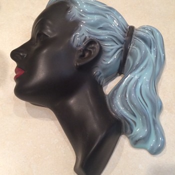 Art Deco Style Lady Wall Mask - Pottery
