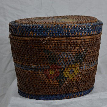 Painted 2 tier Basket Native or New England? - Native American
