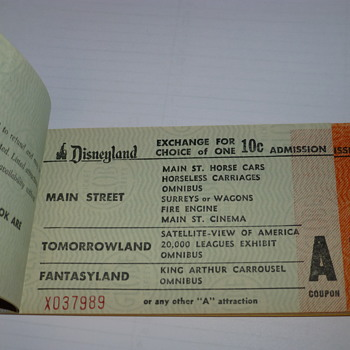 The inside tickets on the Disney 1958 ticket book