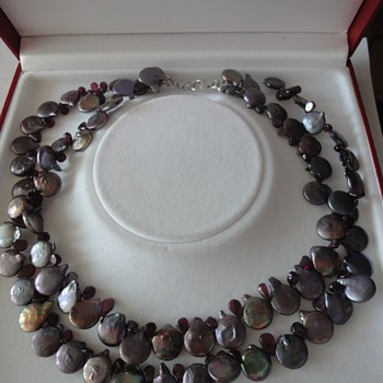 Grey Blister Pearl Necklace with separate formed purple glass beads   - Fine Jewelry