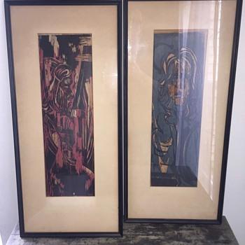 Old Pair of Vintage Art (painting/mixed medium?) - Visual Art