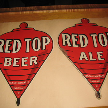 Red Top Figural Signs - Breweriana
