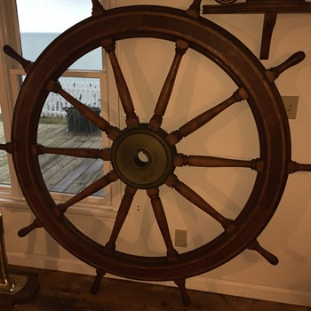 73 inch Coast Guard Cutter Ship Wheel - Military and Wartime
