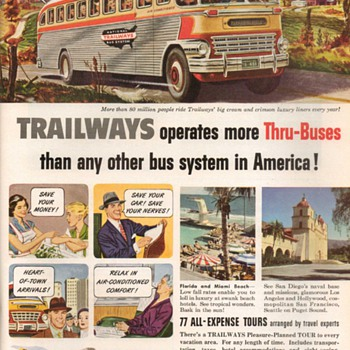 1951 - Trailways Bus Lines Advertisements - Advertising