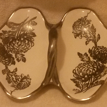 Silver (?) Trimmed Dish - China and Dinnerware