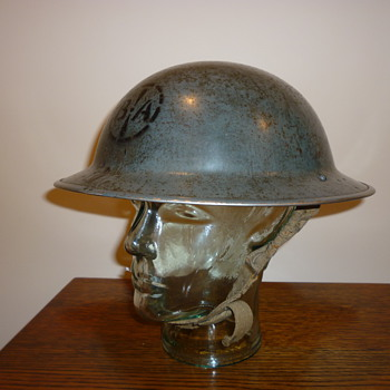 British WWII Civil Defence Factory Guard steel helmet. - Military and Wartime