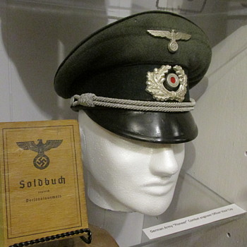 "WWII German Army Officer, Combat Engineer ""Pioneer"" Visor Cap"