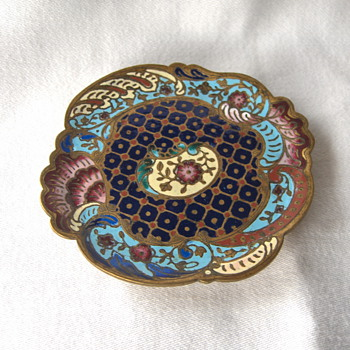 A Fine Antique French Champleve Enamel Ormoulu Footed Dish 3.5inches - Victorian Era
