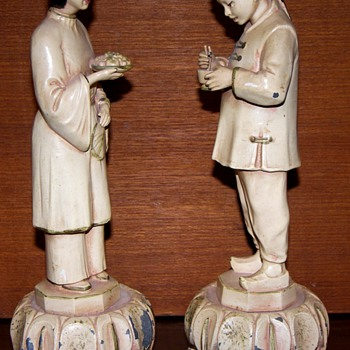 Pair of Chinese Figures with Food