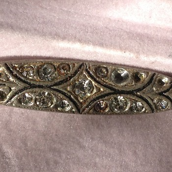 Edwardian? Silver and  Crystal stone Bar Pin or Brooch