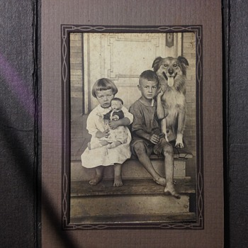 Vintage Childhood Photo. Girl- Boy, Doll-Dog