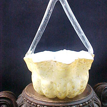 1892 Butler Brother's Citron Silver Spangle Basket - Art Glass