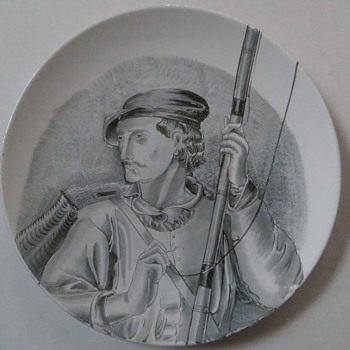The Catch of the Day, Antique Plate with handpainted Fisherman, unknown mark
