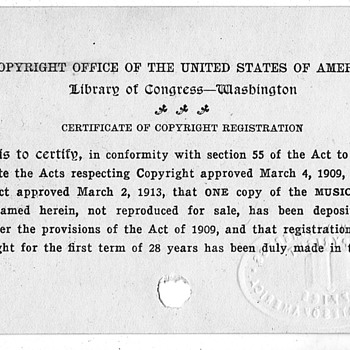 Copyright Certificate For song  Doom the Kaiser 1917