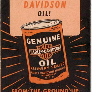 Harley-Davidson Motorcycle Oil Ad Pamphlet - 1960