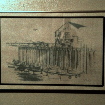 """Folk art Late 60s early 70s 13""""x 19"""" Charcoal or dark pencil framed drawing signed by artist - Visual Art"""