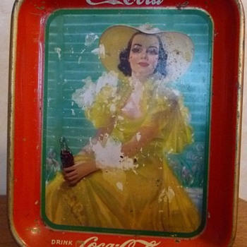 1938 Girl in yellow dress,tray! - Coca-Cola
