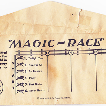 Vintage cigarette  Horse Racing ticket . Beware of catching self on fire