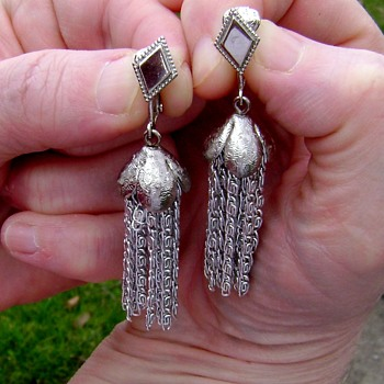 Sarah Coventry Earrings - Silvery Cascade - Costume Jewelry