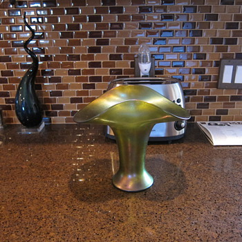 Austrian Loetz-type Olive Green Iridescent Large Basket Vase - Art Glass