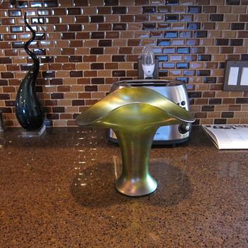 Austrian Loetz-type Olive Green Iridescent Large Basket Vase
