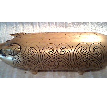 Classy Gold Ceramic Pig / Incised Design / Unknown Maker and Age