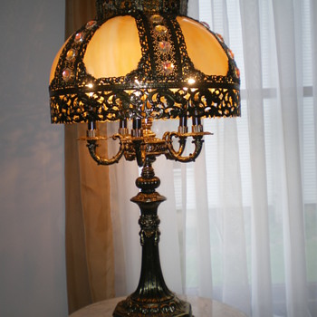 Pair of slag table lamps